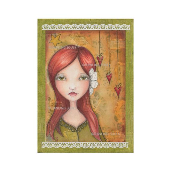 Kindness, mixed media painting, whimsical painting, giclee art print, wall decor, illustration, whimsical girl