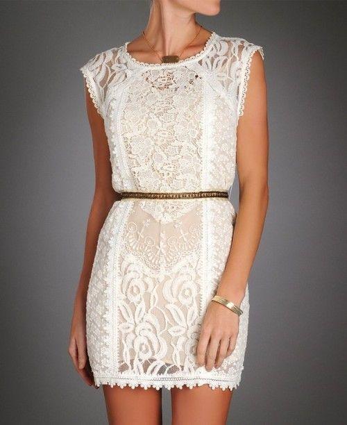 pretty dress: Summer Dresses, Strawberries Lace, Shower Dresses, White Lace Dresses, Rehear Dinners Dresses, Bridal Shower, Lace Sheath Dresses, Little White Dresses, Belts