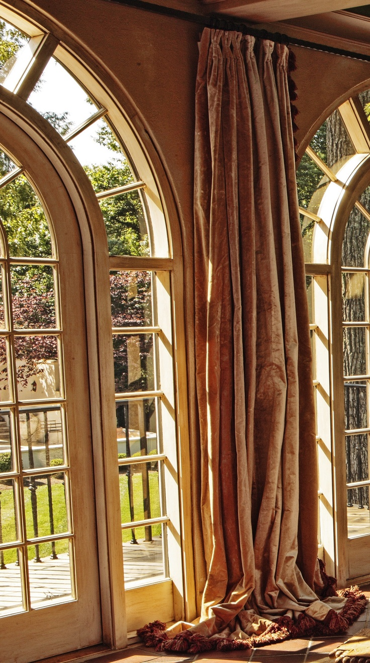 Window treatments for arched windows - I Love Drapes That Puddle On The Floor It Makes The Room Taller Arch Windowshuge Windowswindows And Doorsdoor Window Treatmentswindow