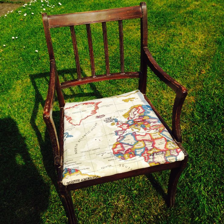 Reupholstered chair with atlas print Contact for your own treasures pieces to be given a new lease of life...