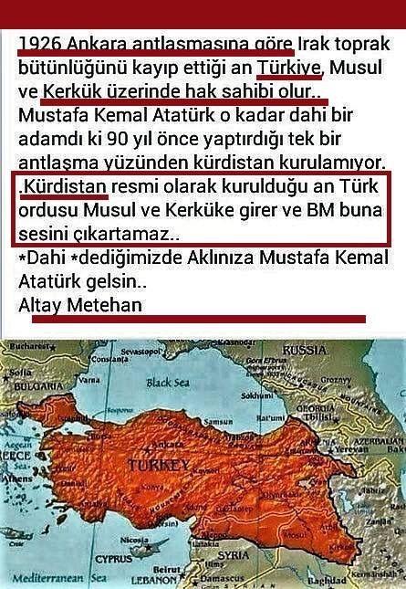1926 Ankara antlaşmasına göre