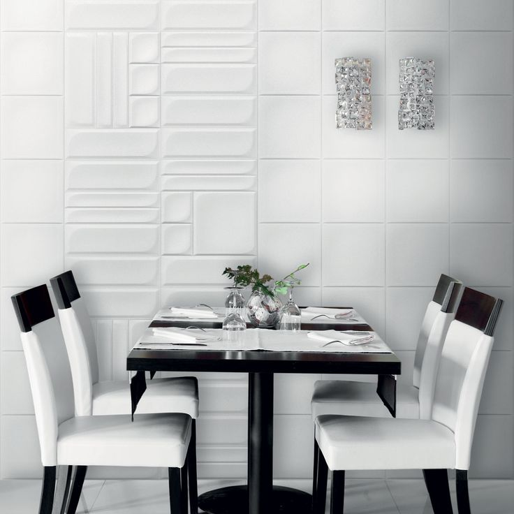 Modern and unusual kitchen wall tiles in white from solus for Unusual kitchen wall tiles
