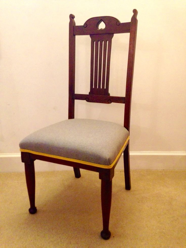 Arts and crafts dining chair - finished in grey and mustard Warwick wool! Available at www.woodenwedge.co.uk