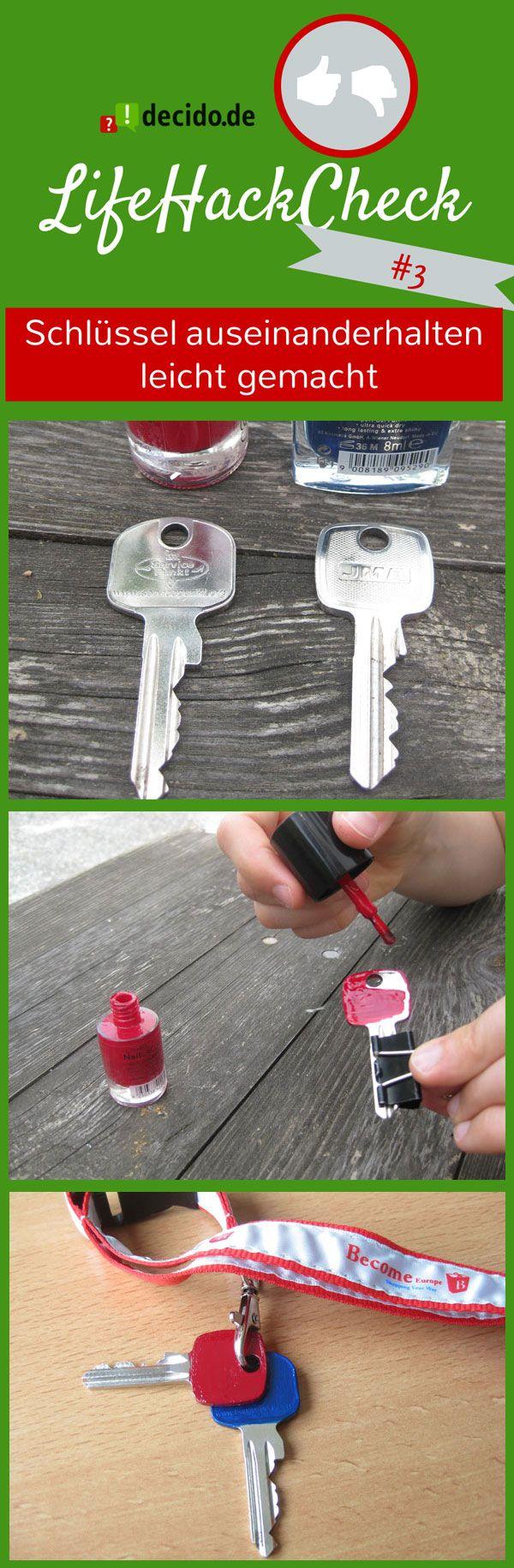 #LifeHack : Schlüssel auseinanderhalten leicht gemacht!   Der Life Hack: Einfach jeden Schlüssel mit Nagellack in einer anderen knalligen Farbe bemalen! #tipps #tricks