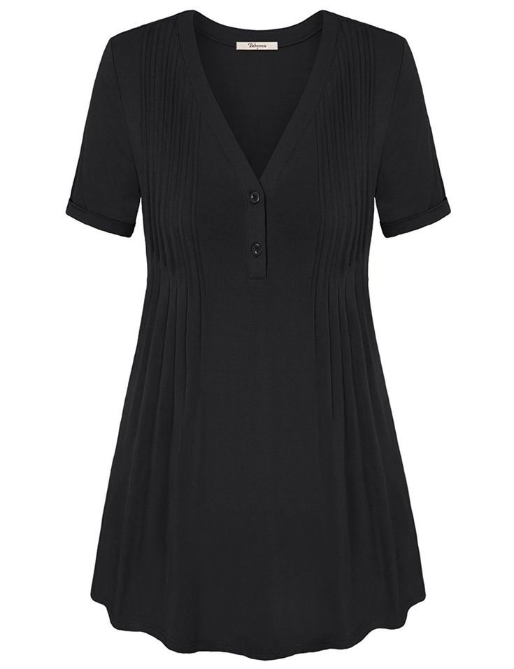 Womens V Neck Chic Pleated Tunic Shirt Top - Black - CE17YE7K4W7 3