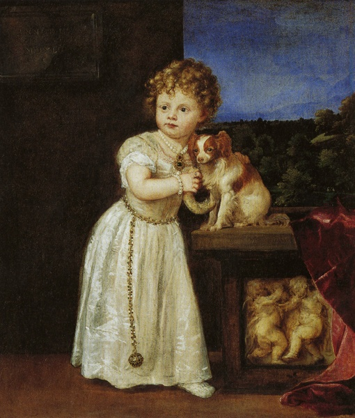 Clarissa Strozzi  Aged Two  by Titian, 1542, oil.  Collection Staatliche  Museen zu Berlin,  Gemäldegalerie, Germany.