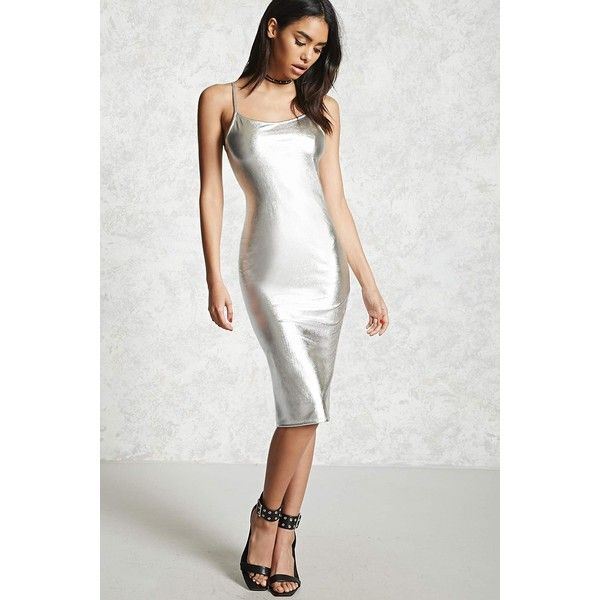 Forever21 Metallic Bodycon Dress ($25) ❤ liked on Polyvore featuring dresses, silver, body con dresses, white strappy dress, white bodycon dress, metallic dress and metallic bodycon dress