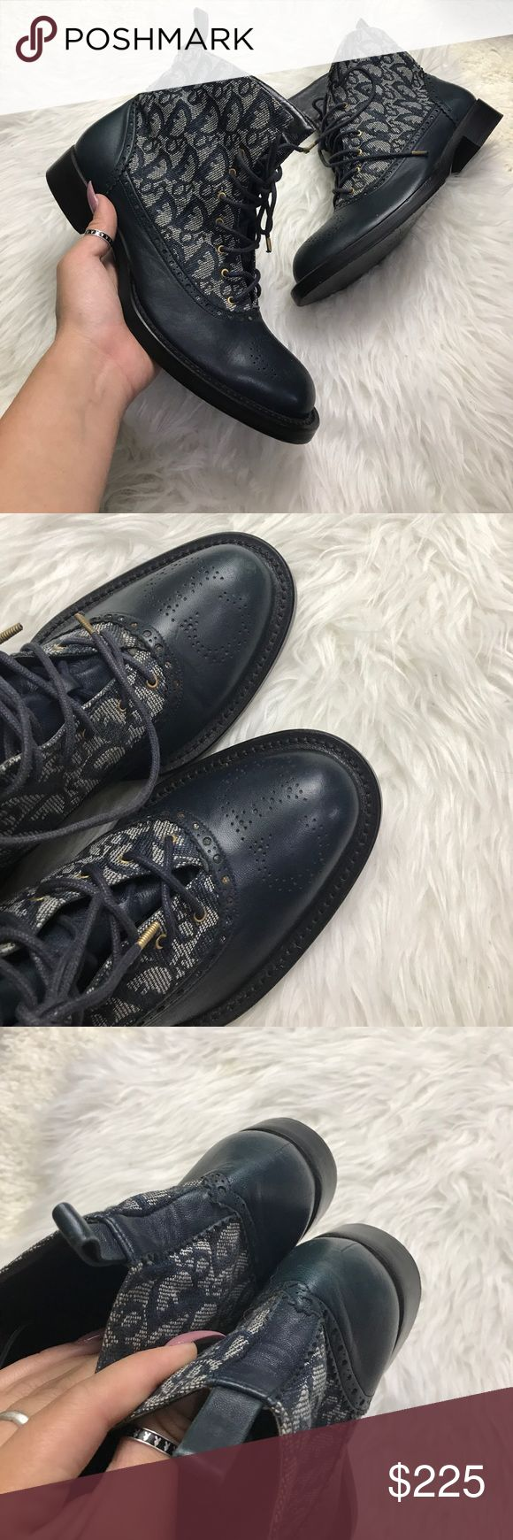 CHRISTIAN DIOR 8 38 MONOGRAM BOOTS SHOES BOOTIES 100% AUTHENTIC beautiful dior boots , .. very coveted monogram style , very uncommon and can be casual or not Christian Dior Shoes