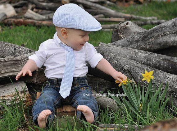 Baby photo prop hat and tie set light blue seersucker baby