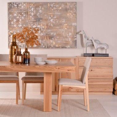 Cette table de salle à manger au design épurée au piétement de style piedestal, est faite de placage et de bois d'Hyckory massif. Choix de finis et d'essence de bois. Fait au Québec.
