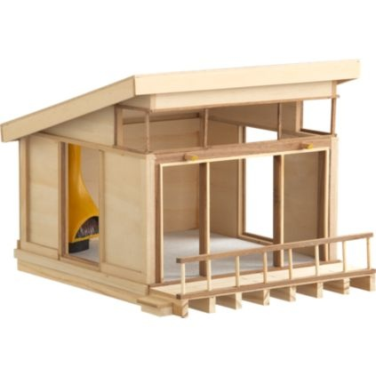 Modernist mini-doll house. I like the idea of building a dream house out of balsa wood, just for the dreaming of it.