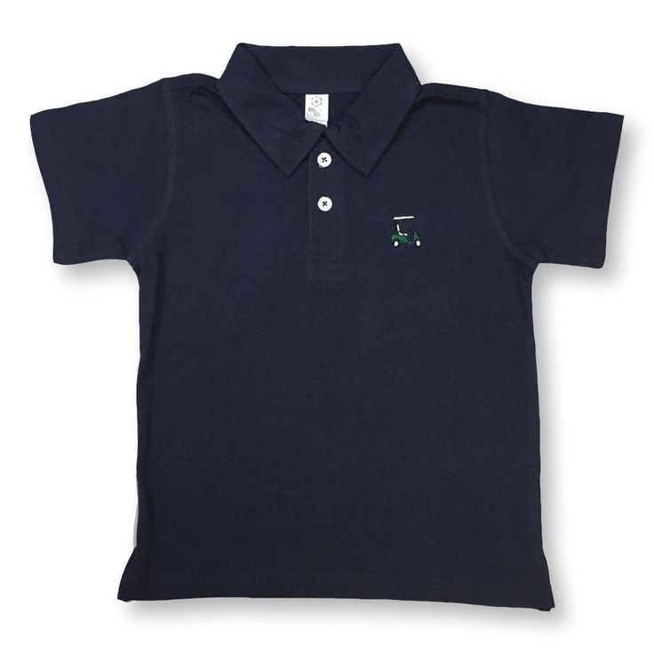 A simple golf cart is embroidered on a choice of fine jersey, short sleeve, navy blue or white, polo tee. This t-shirt is made of 4.8 - 5.3 oz 100% ring spun co