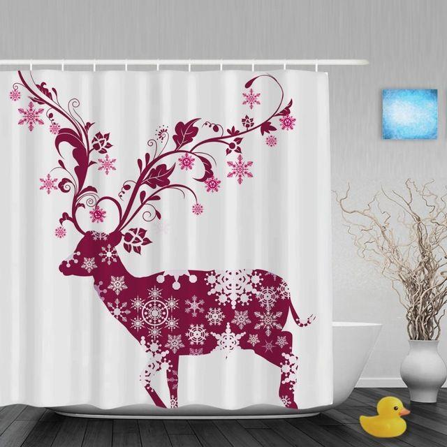 Christmas Shower Curtain Deer Tree Kids