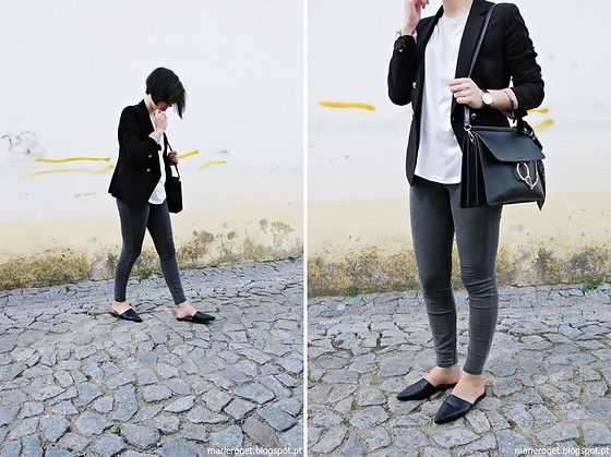Get this look: http://lb.nu/look/8188311  More looks by Maria Marques: http://lb.nu/marieroget  Items in this look:  Mango Blazer, Pull & Bear Jeggins, H&M Flat Mules   #casual #minimal #street #flatmules #black #grey #blazer #hm #mango
