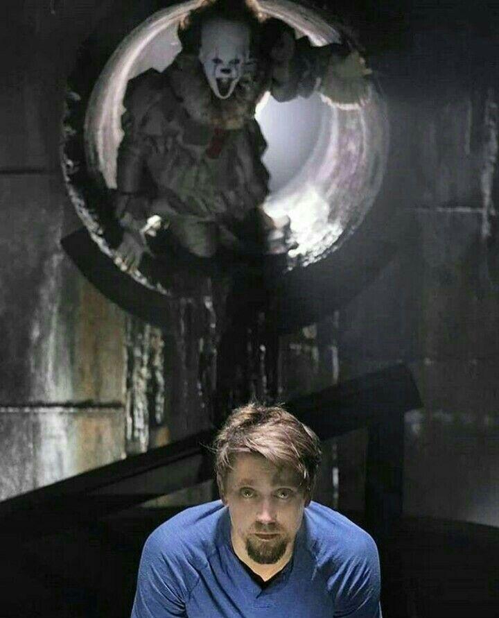 Andy y Pennywise (Bill Skårsgard) en el rodaje de la película!!