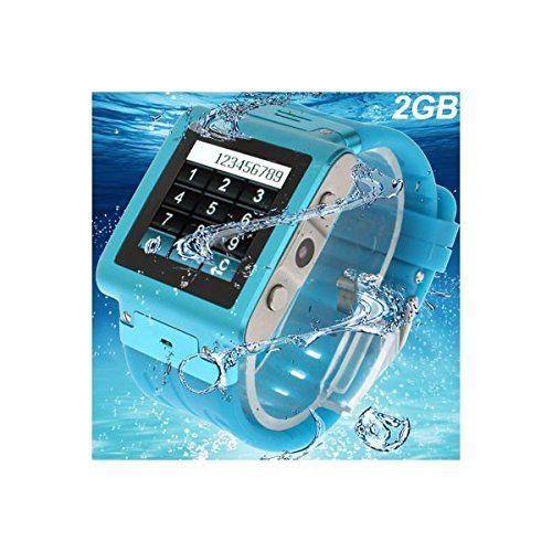 Montre téléphone waterproof caméra photo MP3 MP4 Micro SIM Bleu:Amazon.fr:Image…