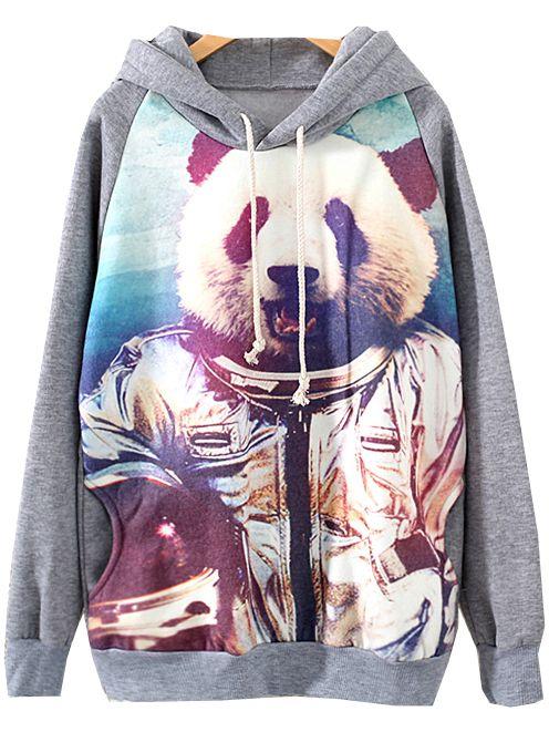Grey Hooded Long Sleeve Panda Print Sweatshirt 30.00