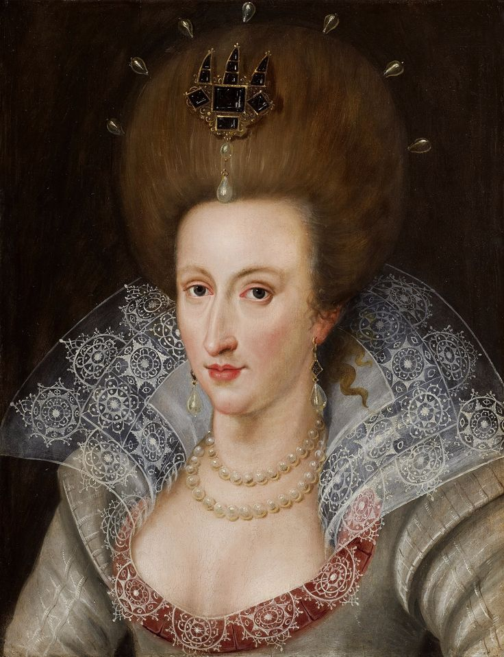 Portrait of Queen Anne of Denmark by John de Critz, ca. 1605 (PD-art/old), Private collection; Queen Anne was already curious about prince Ladislaus Vasa in 1606 when William Bruce was instructed to procure the prince's portrait for her