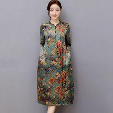 Jurk Vrouwen Moerbei Zijde Plus Size Vestidos De Playa O Hals Vintage Jurken Plus Size Vrouwen Herfst Jurk Bloemen Robe(China)