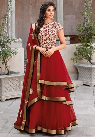 Red Net Double Layered Abaya Style Churidar Kameez