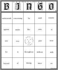 Preposition Bingo Game by Donna Young.  You can print her already made cards or make your own.