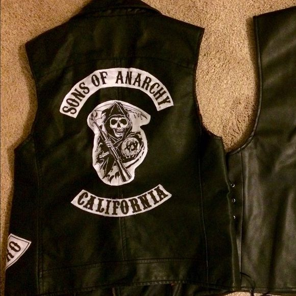 Sons of Anarchy Faux Leather Vest Costume Made this for Halloween last year to replicates the sons of anarchy club vests. Patches fabric glued to leather vest. I also have a matching my boyfriend wore. Will sell both as set if interested. Jackets & Coats Vests