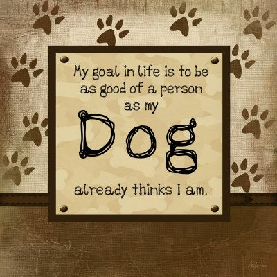 Yep that's my goal... The Dog really thinks I'm a good person... actually my dogs worry more about me day to day then people!