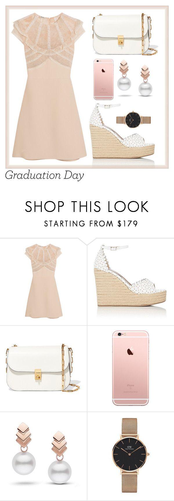 """Graduation day"" by aashna-makkar ❤ liked on Polyvore featuring Miu Miu, Tabitha Simmons, Valentino, Escalier, Daniel Wellington, dress, college, pastel and contestentry"