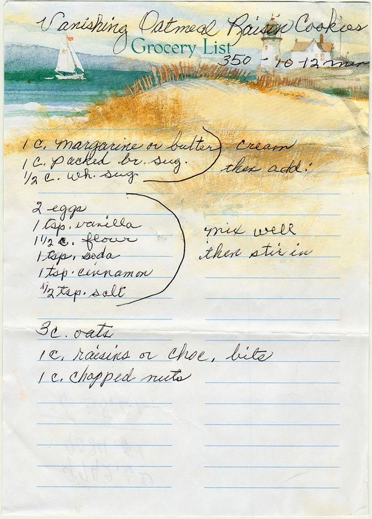 Vanishing Oatmeal Cookies - With raisins or chocolate bits. Here's the back: I'm not sure what it means, but I can't argue with the math. From a box sold in Adams, Minnesota, with ephemera from Ohio. Vanishing Oatmeal Raisin ...