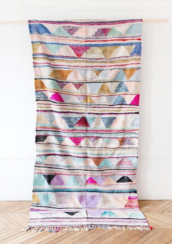 "Vintage Moroccan Boucherouite Kilim Rug, ""The Dalia,"" Pastel Rug, Pink Rug, Boho…"