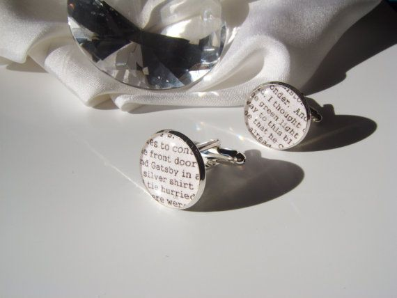 The Great Gatsby Inspired Cufflinks Silver Plated by LiteratoShop, £15.00