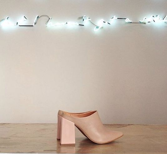 Bend it in neon! The Won Hundred Prudence Square heels.