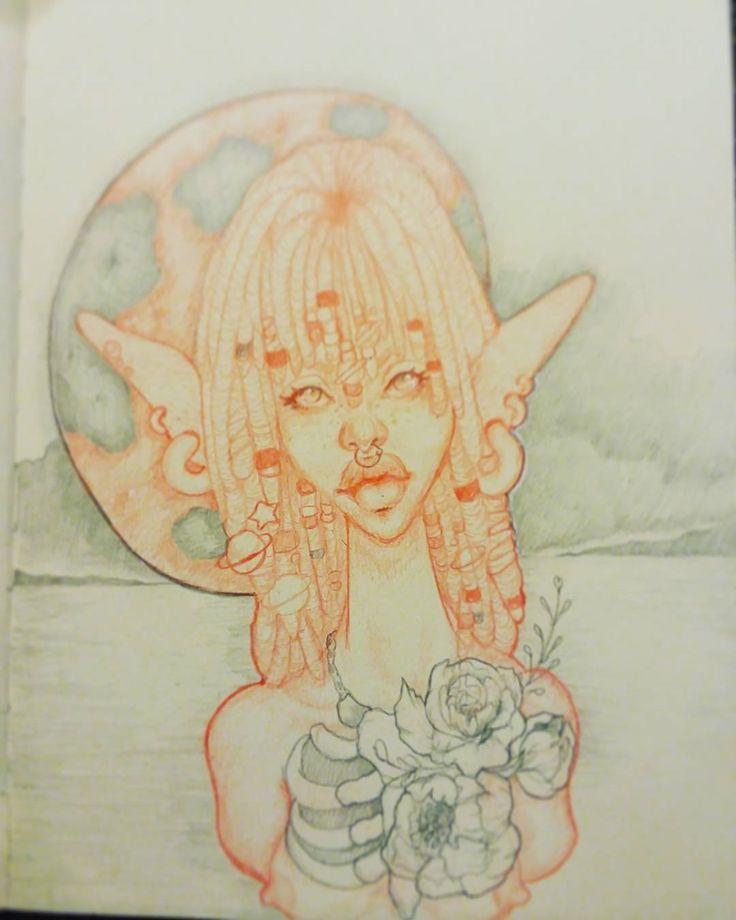regram @quincieart Child of the moon... #artist #artlife #moon #moonchild #illustrator #illustration #stardust #fantasy #fantasyart #art #moonlight #flowers #skeleton #tattoogirl #tattoo #tattoos #nature #naturalhair #beads #beadsandbraids #night