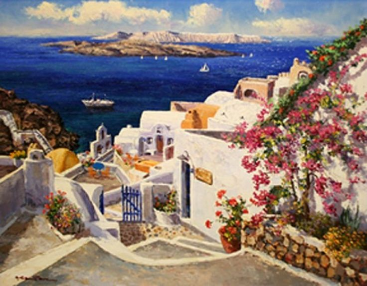 "Original Painting ""Santorini"" by Sam Park"