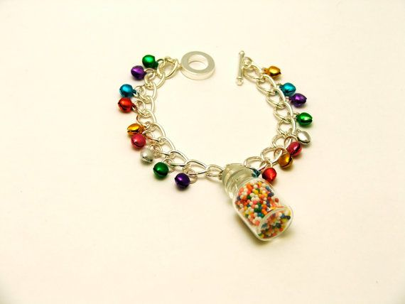 Jingle Bells & Candy Charm Bracelet by mixedupdolly on Etsy, £14.99