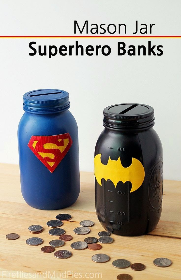 Helping Kids Grow Up: DIY Mason Jar Superhero Banks For Saving Money