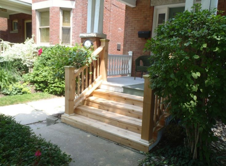 Best Wood Outdoor Steps Outdoor Front Wood Steps And Rail 2 640 x 480