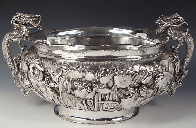 Yokohama silver oval punch bowl
