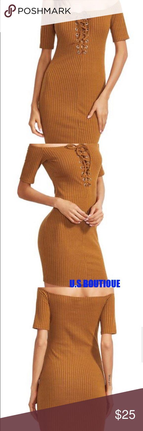 Mustard Off The Shoulder LaceUp Back Bodycon Dress Season: Summer Type: Pencil Pattern Type: Plain Sleeve Length(cm): XS:19cm, S:19.5cm, M:20cm, L:20.5cm Color: Brown Dresses Length: Short Style: Club Material: 97% Polyester 3% Spandex Neckline: Off the Shoulder Silhouette: Bodycon Dresses Mini