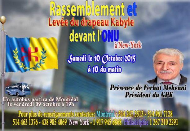 Lever du drapeau kabyle à l'ONU : des autobus affrétés depuis Montréal