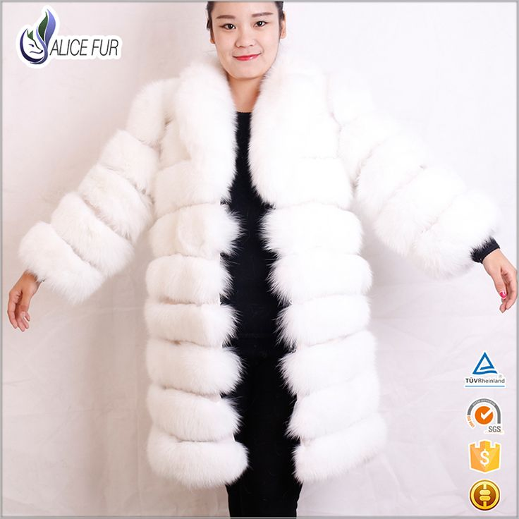 Factory OEM Service Women Removable Winter Bleach White Real Fox Fur Coat For Sale
