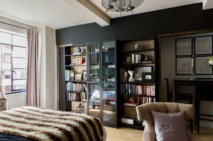 гостиная спальня книжный шкаф стеллаж кресло
