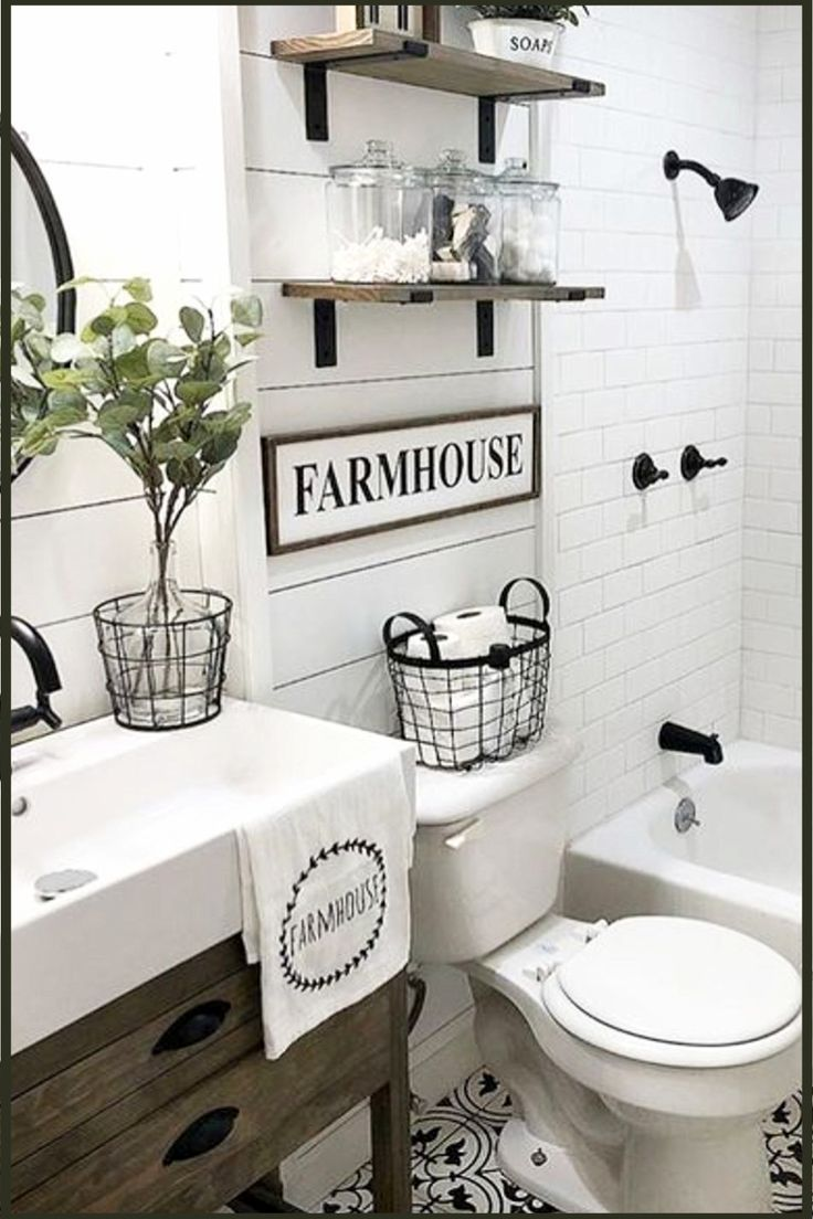Bathroom Shelves Beautiful And Easy Diy Bathroom Space Saver Shelving Ideas Guest Bathroom Remodel Bathroom Farmhouse Style Farmhouse Bathroom Decor Country themed bathroom decor