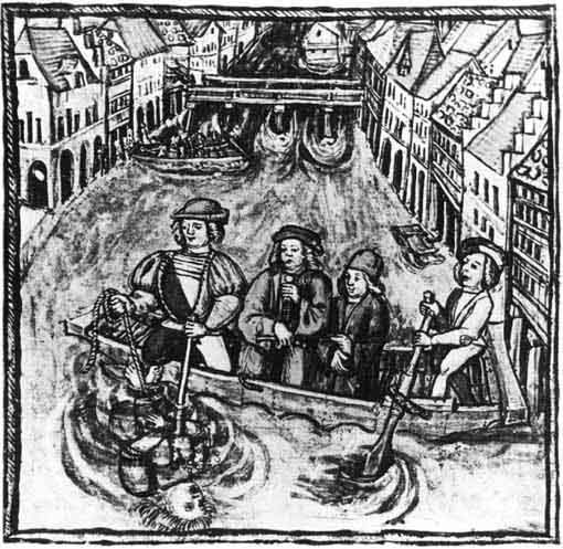 Water-ordeal. Miniature from the chronicle. 16th century