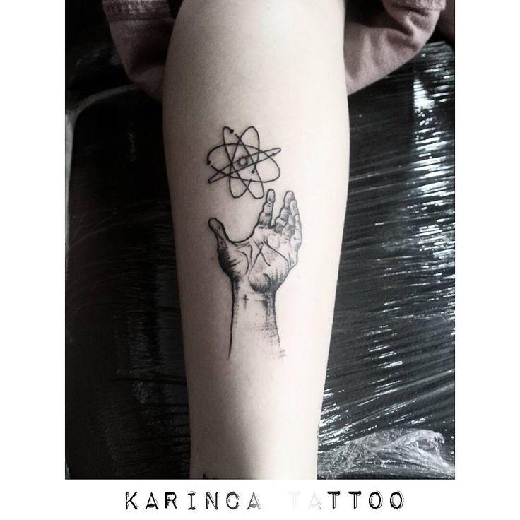 Atom model and Hand Tattoo on the calf https://www.instagram.com/bahadircemtattoo/ #handtattoo #atom #tattoo #blacktattoo #siyah #tasarım #dövme #dovme