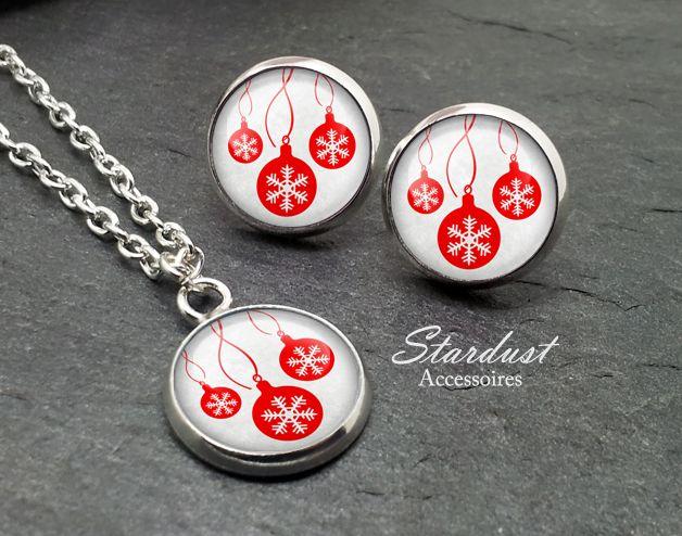 Schmuckset silber ❅ Weihnachtskugeln grau ❅ von Stardust Accessoires auf DaWanda.com