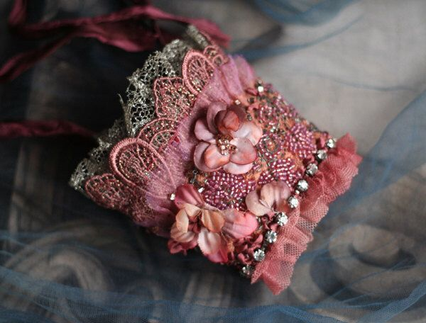 Cydonia flower-- delicate lacy gauntlet from vintage and contemporary textiles, hand beading by FleursBoheme on Etsy https://www.etsy.com/listing/228423735/cydonia-flower-delicate-lacy-gauntlet