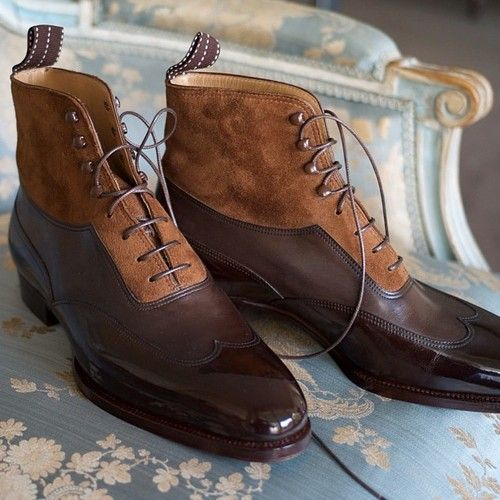 Triple layered Balmoral boots with blind patent wingtip, calf body and suede uppers.