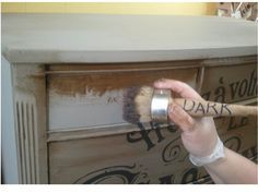 DIY: excellent tips here on how to apply dark wax, how to conserve paint by thinning down on second coat and how to transfer a projected image onto the furniture for adding french lettering. GREAT POST!