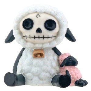 White Wooolee With Pink Sheep Furry Bones Collectible Statue Figurine